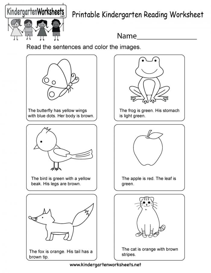 Kindergarten Reading Worksheets