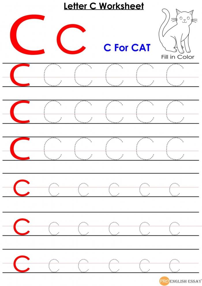 Printable Letter C Worksheet For Pre School Students Free Download