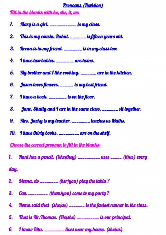 Pronouns Online Activity For Grade