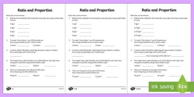 Proportion Differentiated And Ratio Worksheets