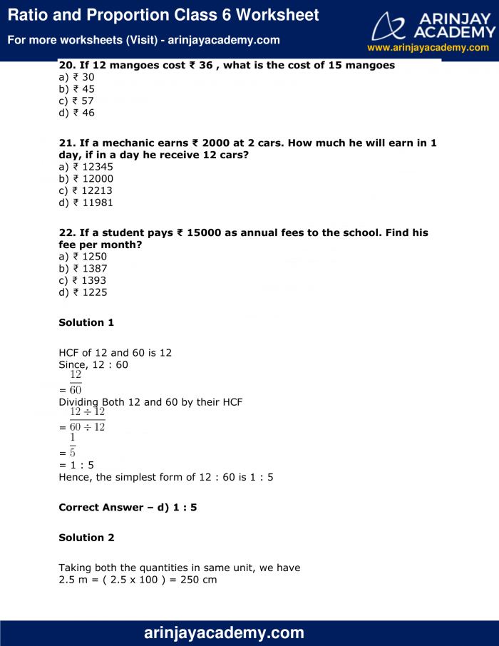 Ratio And Proportion Class Worksheet