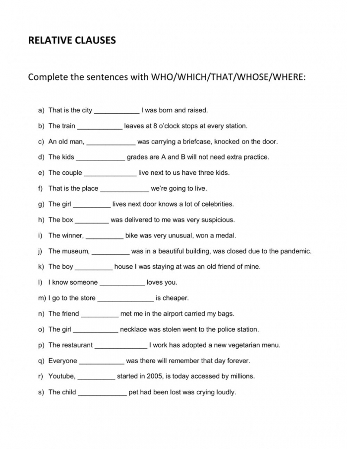 Relative Clauses Online Activity For B B