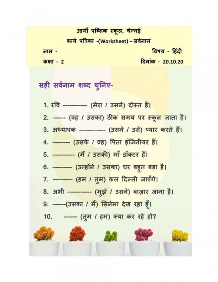 Sarvanaam Activity