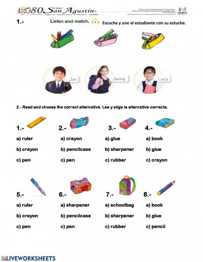 School Objects Listening Audio Worksheet