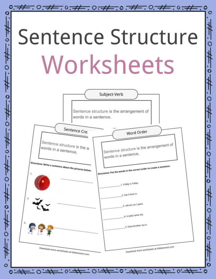 Sentence Structure Worksheets Examples Definition For Kids