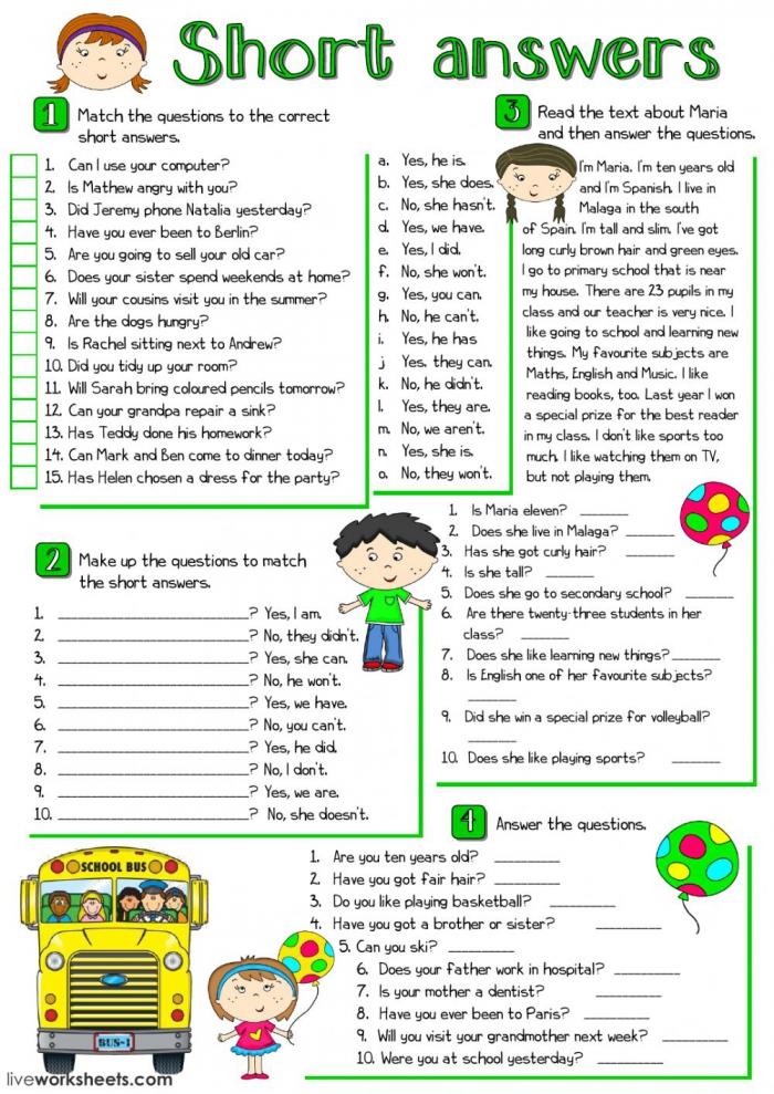 Short Answers Interactive Worksheet