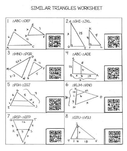 Similar Triangles Worksheet With Qr Codes