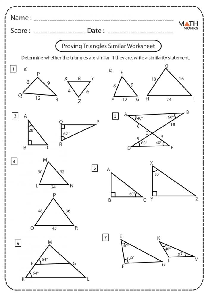Similar Triangles Worksheets