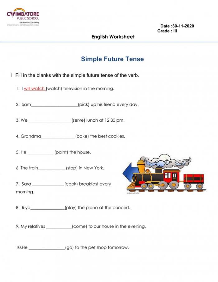 Simple Future Tense Exercise
