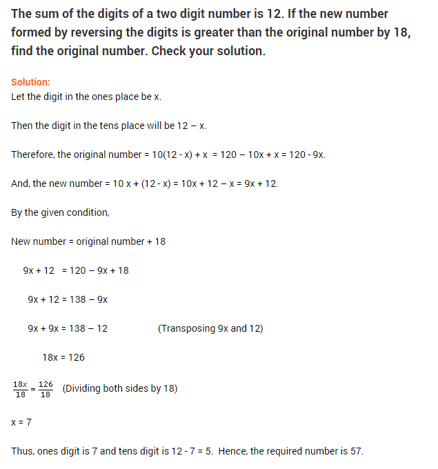 Simple Linear Equations Examples