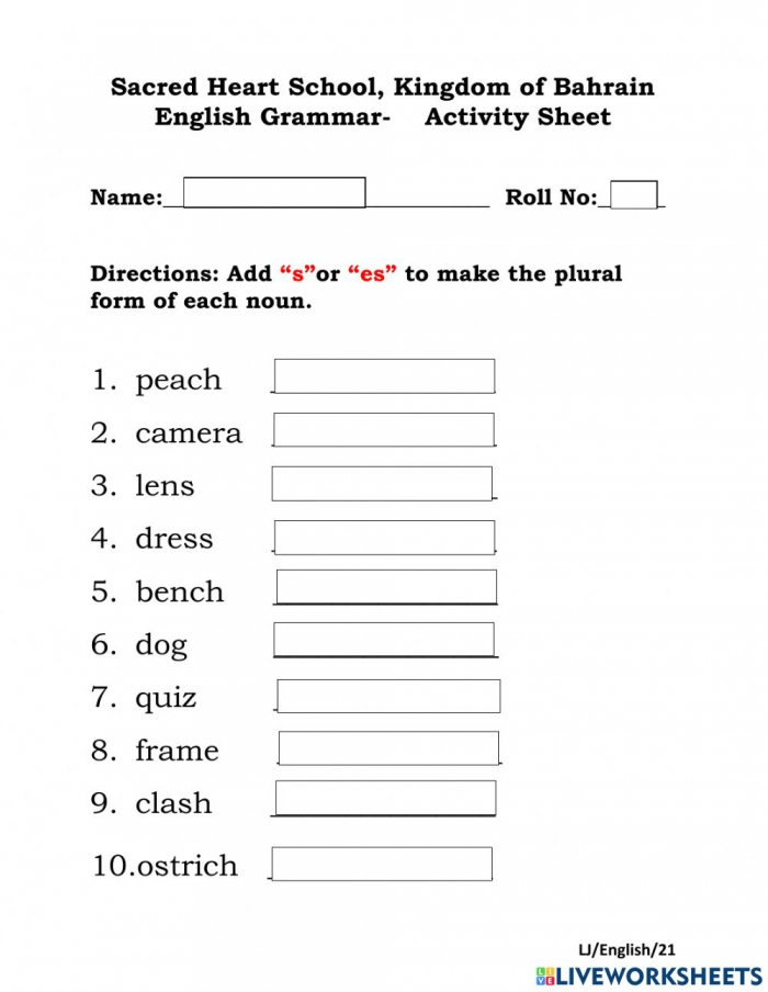 Singular And Plural Interactive Activity For Grade