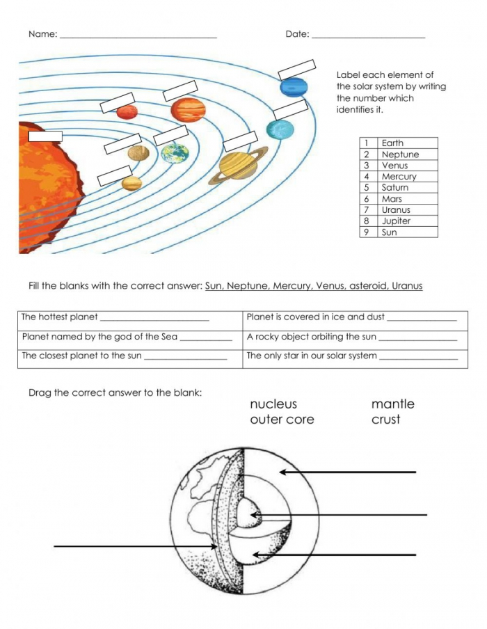 Solar System And The Earth Worksheet