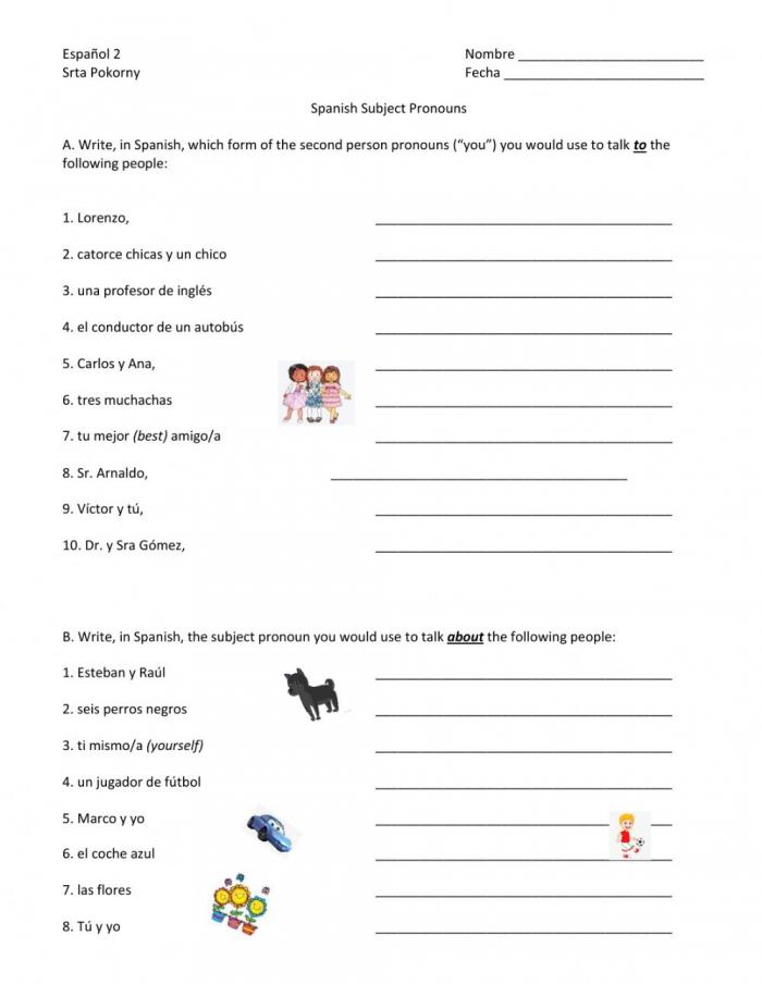 Spanish Subject Pronouns Homework Worksheet