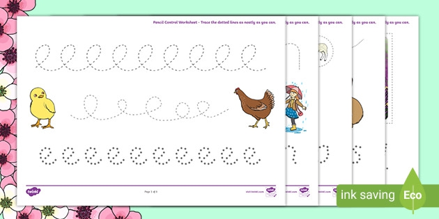 Spring Pencil Control Worksheets