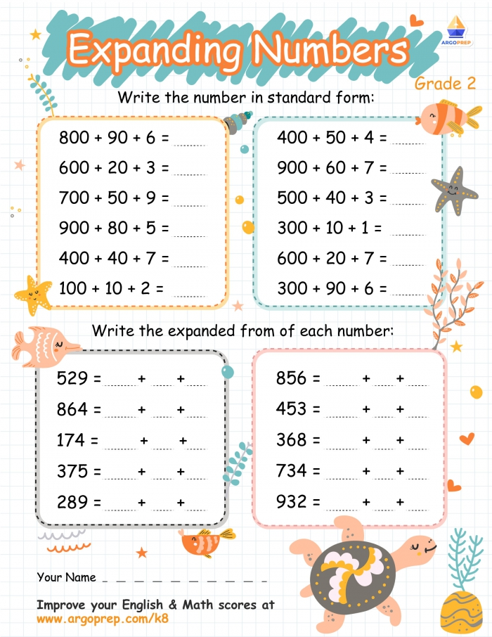Standard And Expanded Form Numbers With Sea Turtle