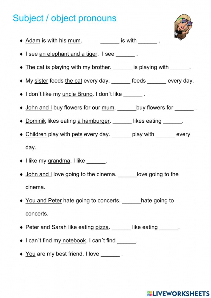 Subject And Object Pronouns Online Pdf Exercise For A