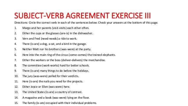 Subject Verb Agreement Pdf