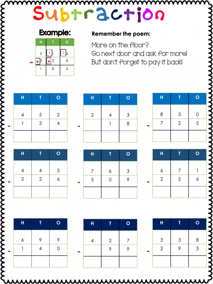 Subtraction With Regrouping Interactive Exercise