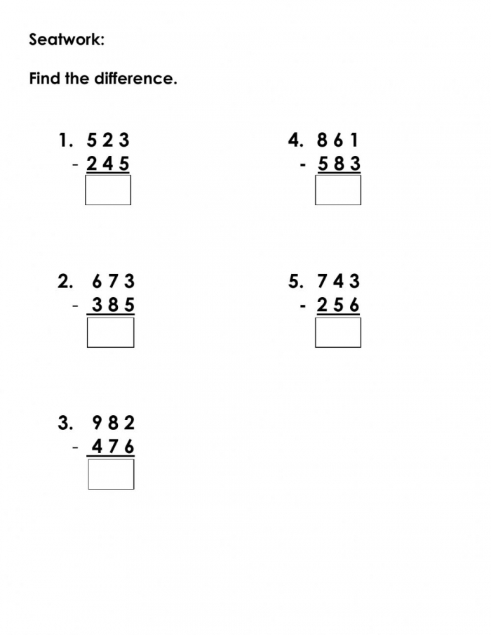 Subtraction With Regrouping Interactive Worksheet