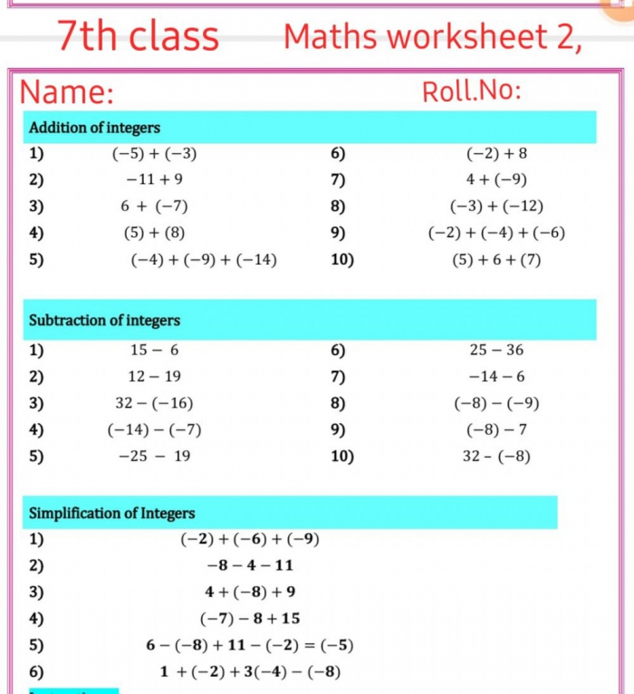 Th Class Worksheet Worksheet