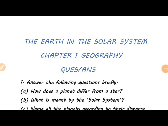 The Earth In The Solar System Chapter Geography Question Answers