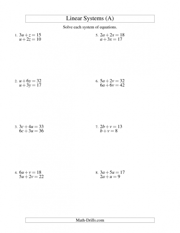 The Systems Of Linear Equations