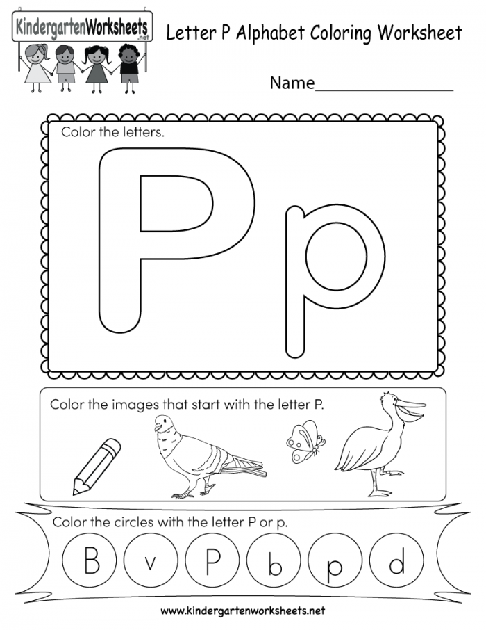 This Is A Fun Letter P Coloring Worksheet Children Can Color The