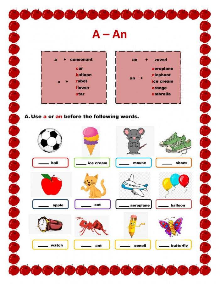 Using A And An Worksheet