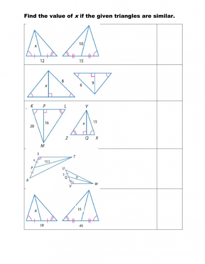 Using Proportions With Special Segments Of Similar Triangles Worksheet