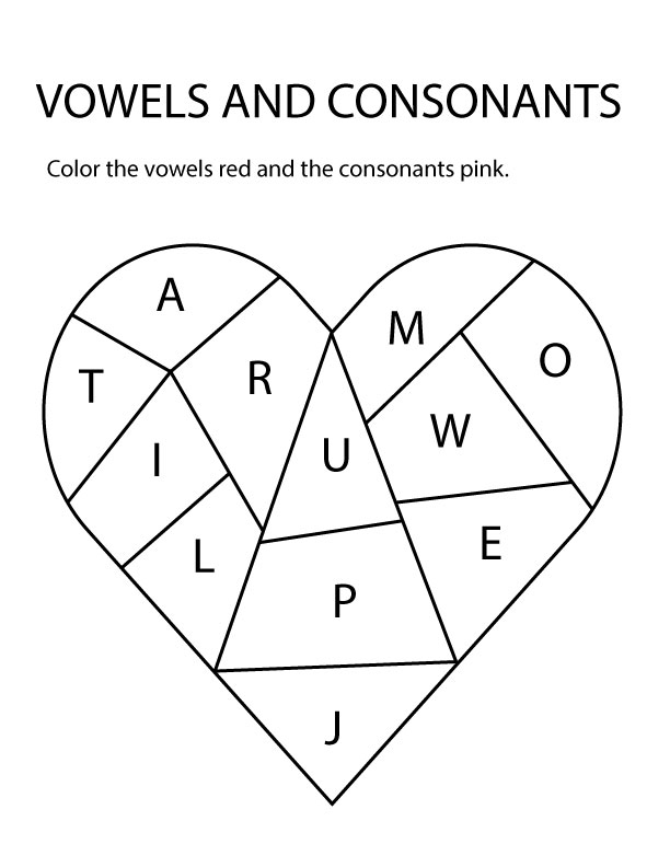 Valentines Color Vowels And Consonants Heart Worksheet The B