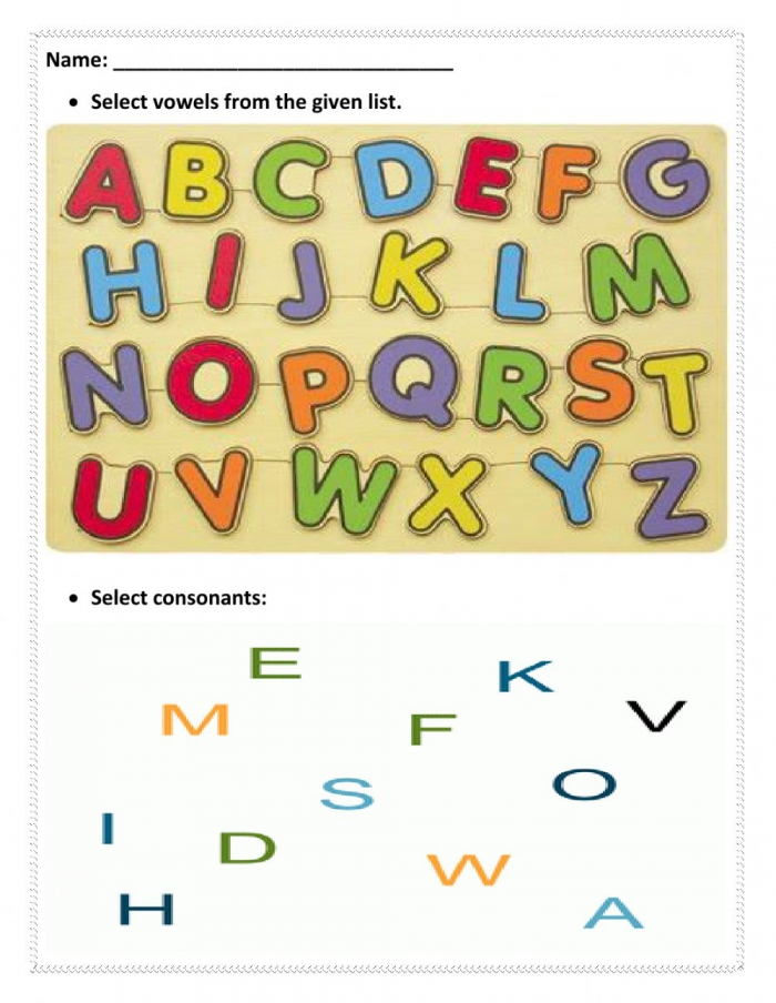 Vowels And Consonants Interactive Worksheet