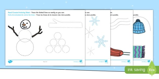 Winter Pencil Control Worksheet Worksheets