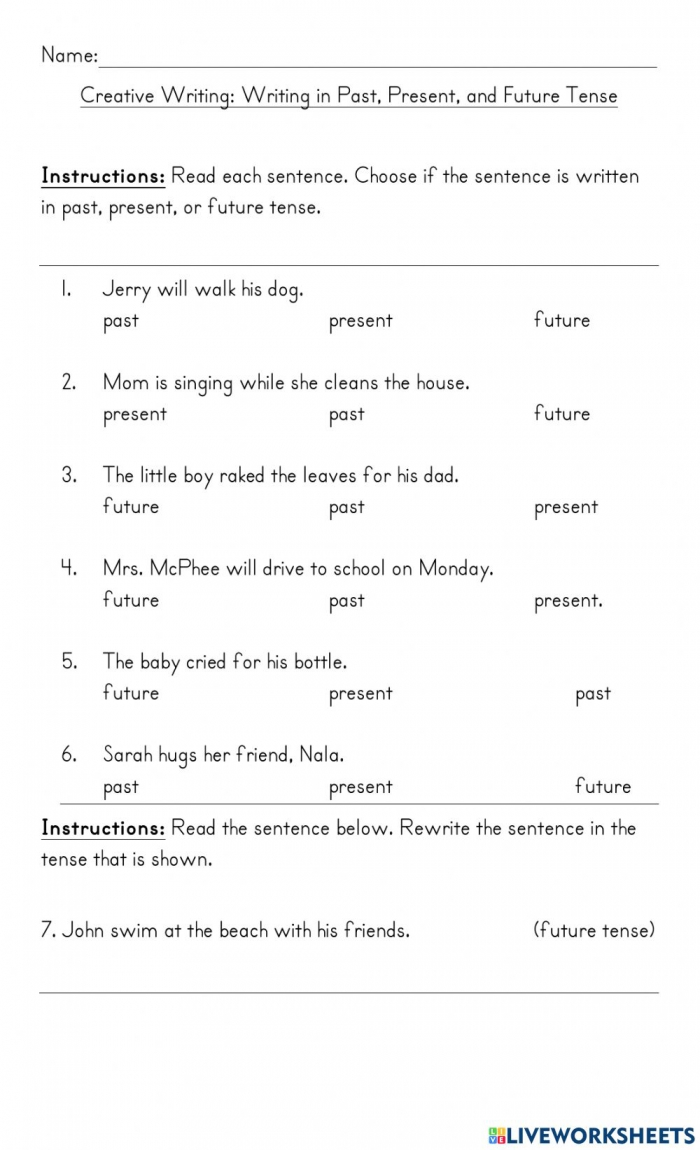 Writing In Past Present And Future Tense Worksheet