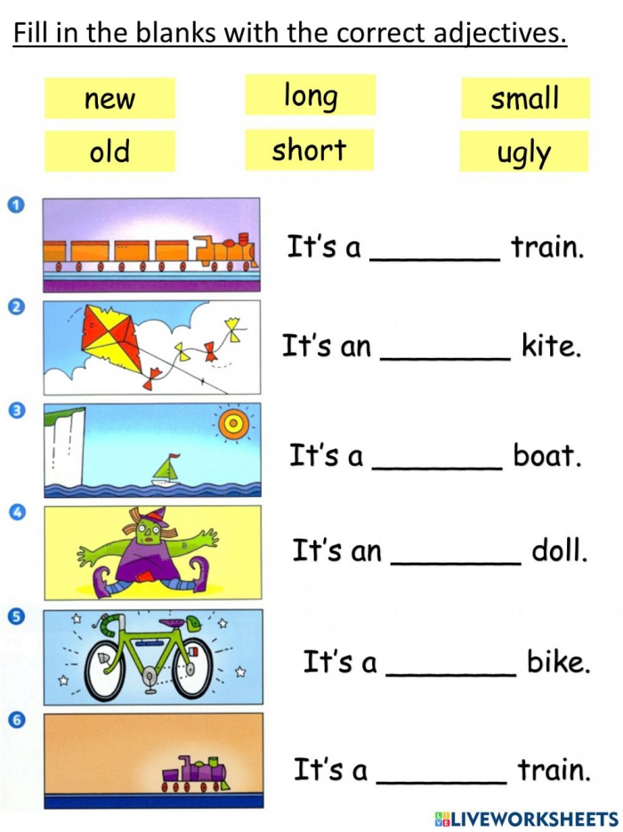 Year English Unit Lets Play Adjectives Worksheet