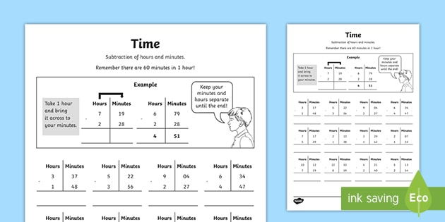 Adding And Subtracting Time Worksheet