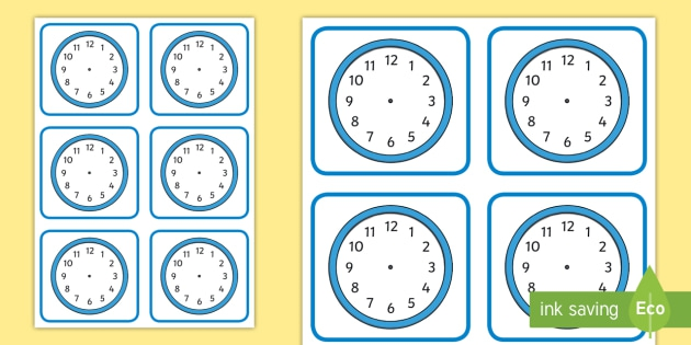 Blank Clock Faces Worksheets