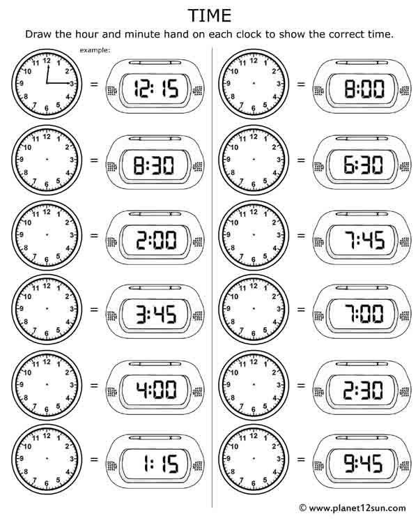 Clock Work Telling Time Worksheets