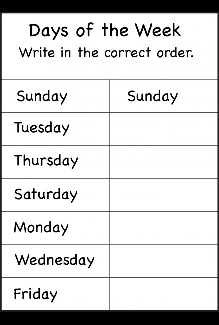 Days Of The Week Worksheet Free Printable Worksheets