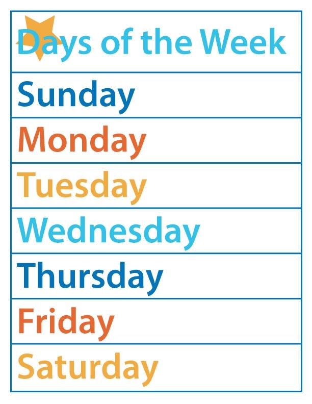 Days Of The Week Free Printable The B Keeps Us Honest
