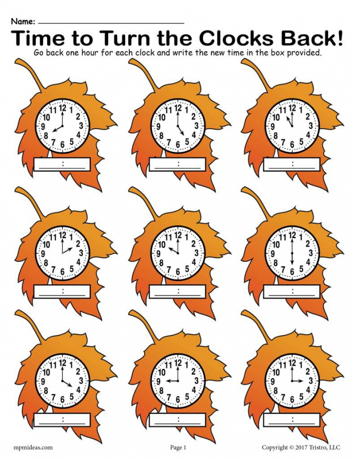 Fall Back Printable Fall Themed Telling Time Worksheet Supplyme