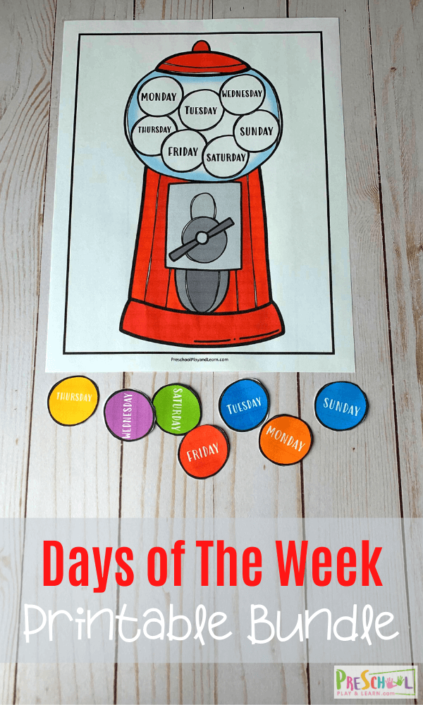 Free Gumball Days Of The Week Printables