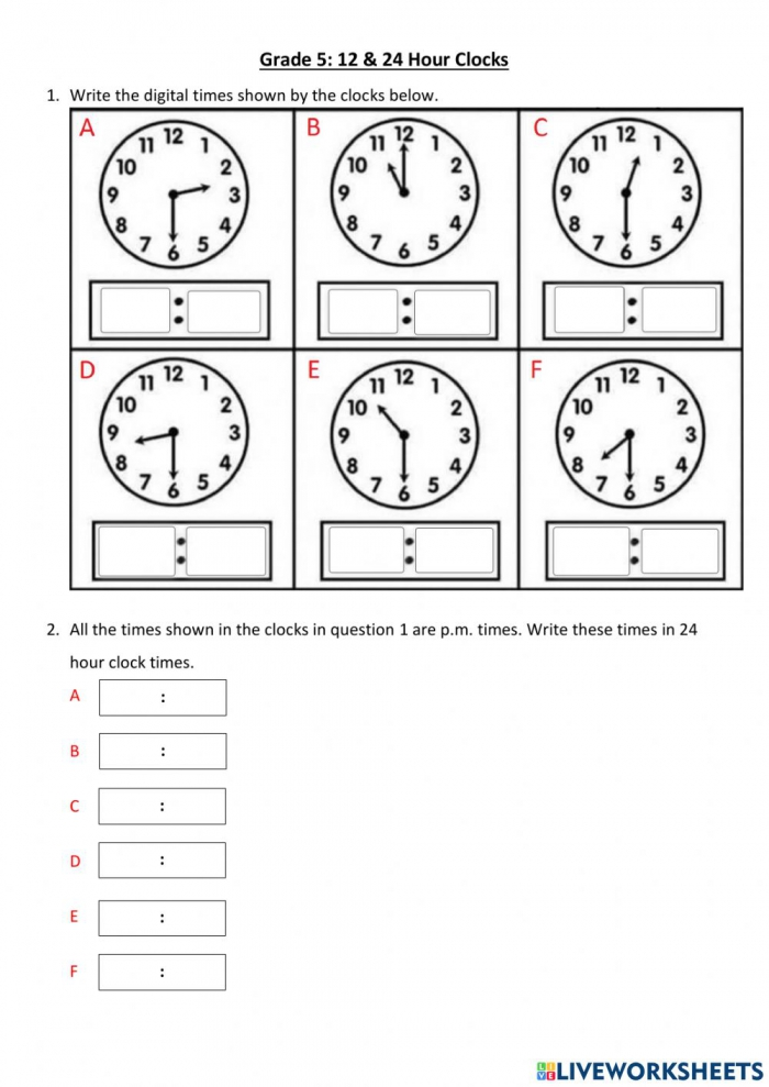 Hour Clocks Worksheet