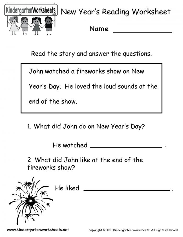 Kindergarten New Years Reading Worksheet Printable