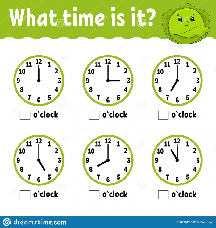 Learning Time Clock Printable Worksheets