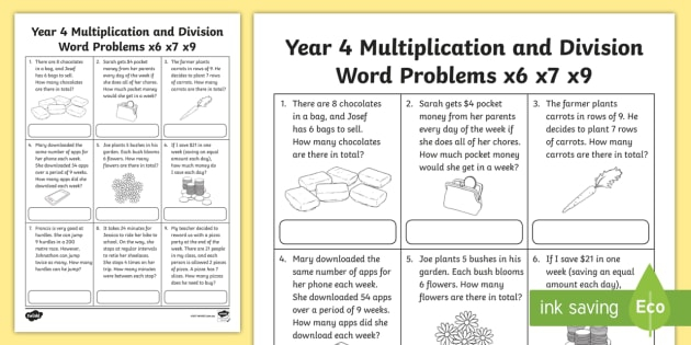 Multiplication And Division Word Problems Year