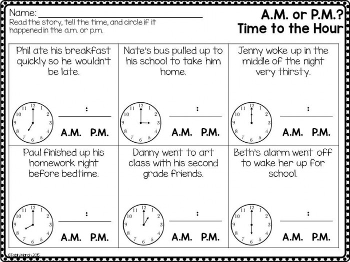 Telling Time Am Or Pm Worksheets