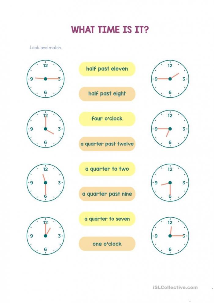 Telling Time Half Past A Quarter Past A Quarter To