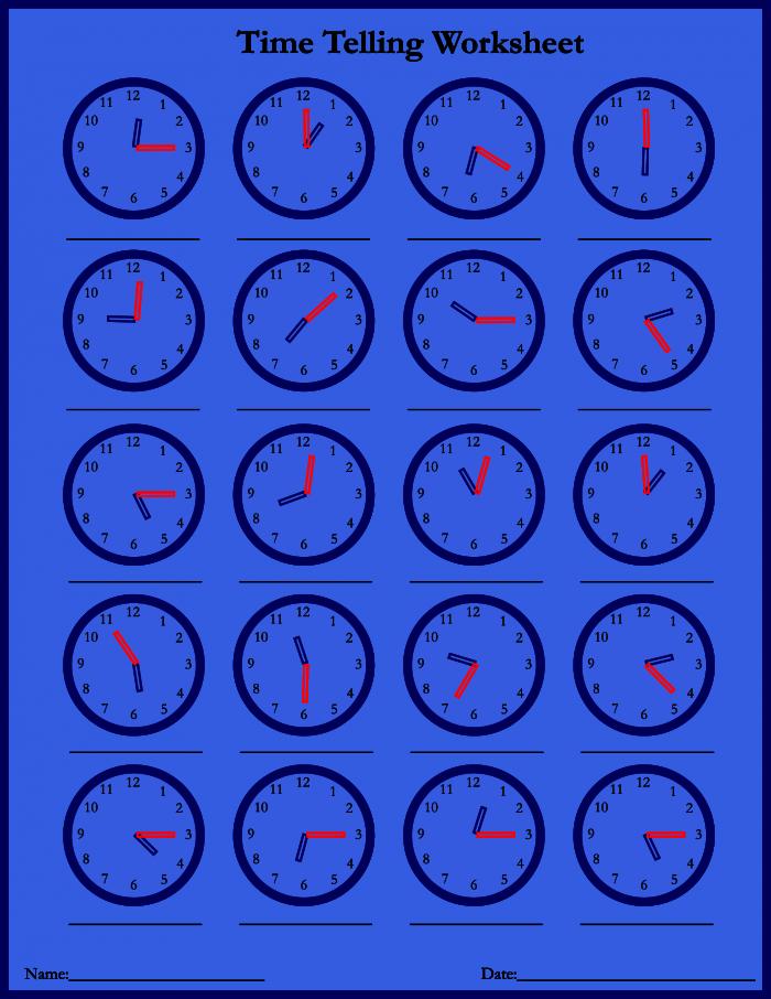 Telling Time Worksheet Archives
