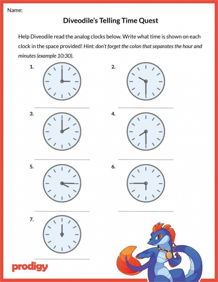 Telling The Time Worksheets Year 1