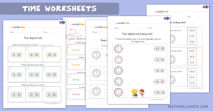Time Clock Worksheets For Kindergarten